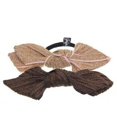 Wheat Straw - Peach Grosgrain and Brown Straw - Brown Grosgrain Bow Ponytail Holder