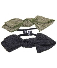 Green Straw - Green Grosgrain and Black Straw - Black Grosgrain Bow Ponytail Holder
