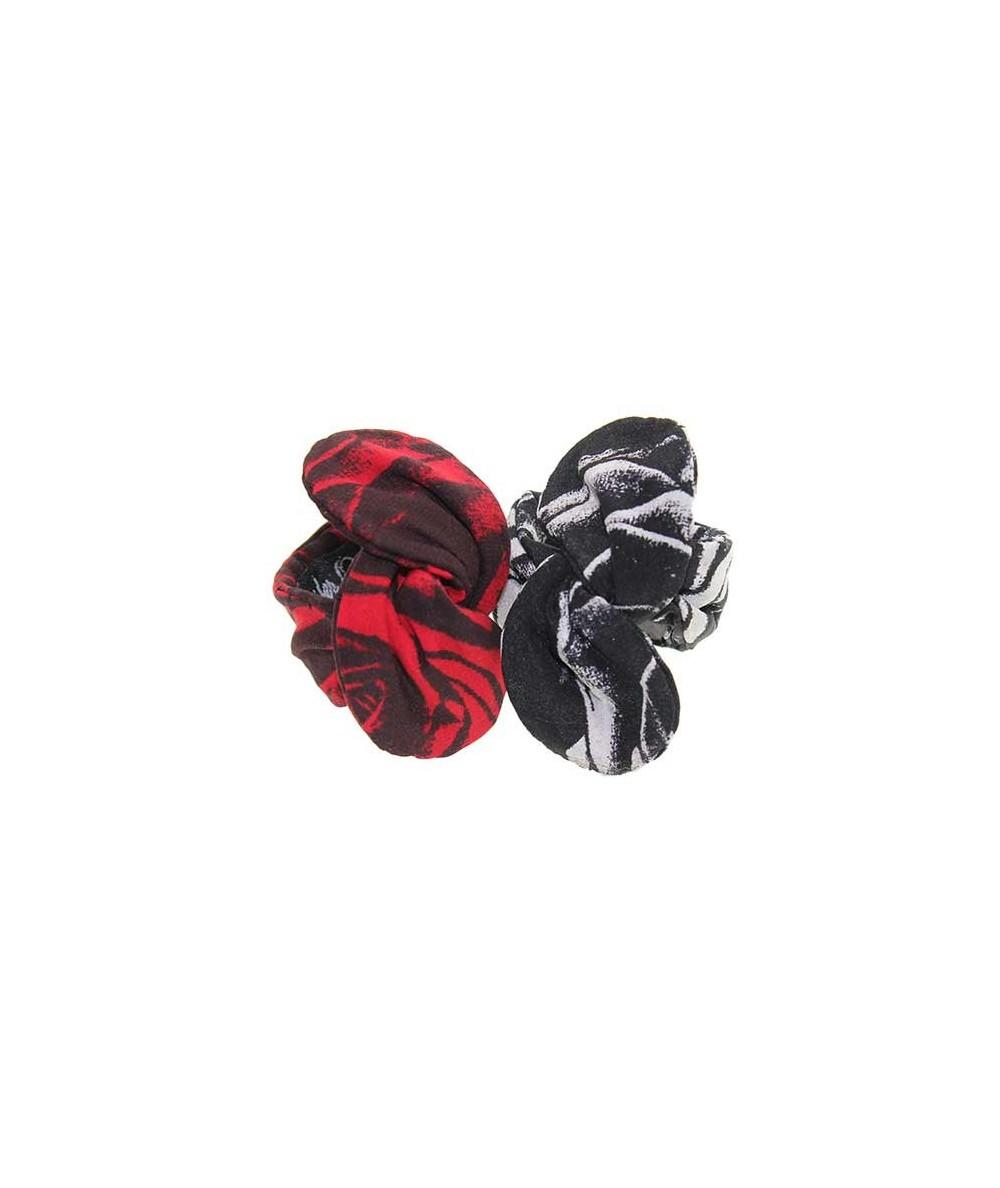 Roses Silk Print Wired Ponytail Holder