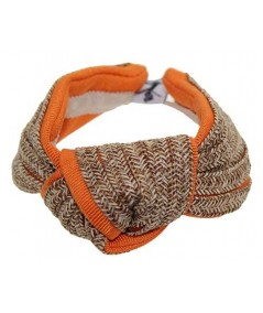Wheat Straw and Orange Grosgrain Bow Wristband
