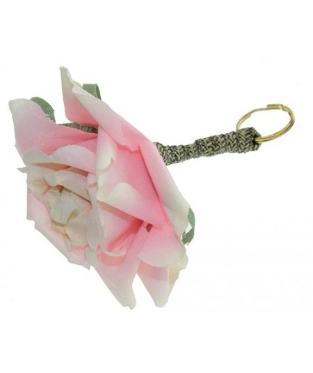 Pink Flower with Straw Bow and Stem Handbag Charm