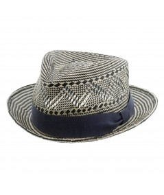 Black-White with Navy Grosgrain Summer Fedora Hat by Jennifer Ouellette