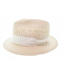 Natural-White with Ivory Grosgrain Summer Fedora Hat by Jennifer Ouellette