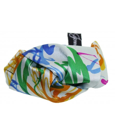 Multi Flower Silk Print Knot Pony Holder