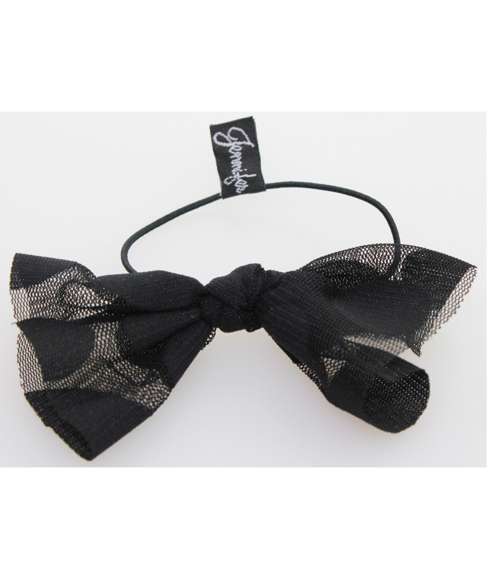 Black Tulle with Black Big Polka Dots Elastic Ponytail