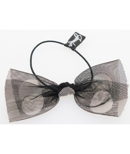 Black Tulle with Big White Polka Dots Hair Elastic