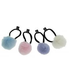 Faux Fur Pom Pom Hair Elastic - Perwinkle & Black