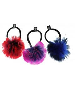 Faux Fur Pom Pom Ponytail Holders Red/Purple, Pink/Purple, Cobalt