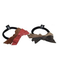 Two Toned Double Suede Bow Hair Elastic