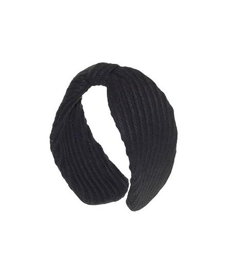 Black Track Wool Center Divot Headband Earmuffs
