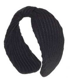 Black Track Wool Center Divot Headband Earmuffs