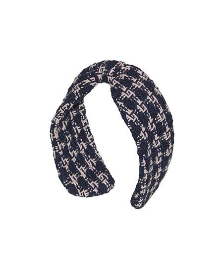 Navy Natural Wool Center Divot Headband Earmuffs