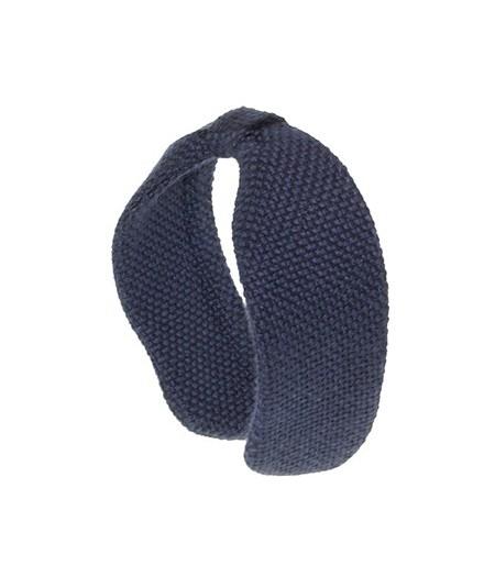 Navy Wool Center Divot Headband Earmuffs