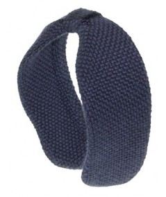 Navy Wool Center Divot Headband Earmuffs