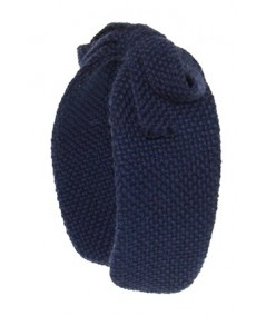 Navy Boucle Center Bow Earmuffs