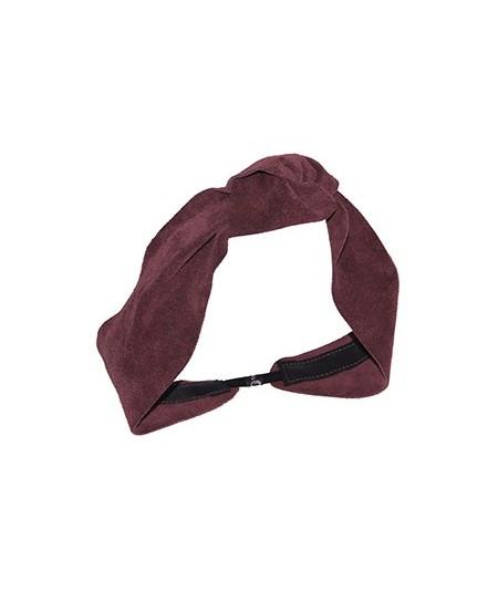 Burgundy Suede Knot Turban Head Wrap