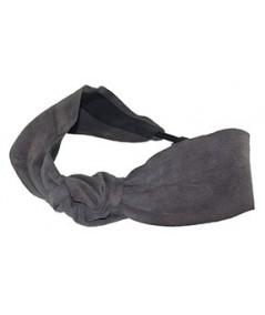 Grey Suede Knot Turban Head Wrap