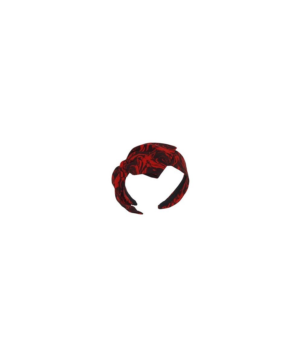 Rose Silk Print Large Bow Headband