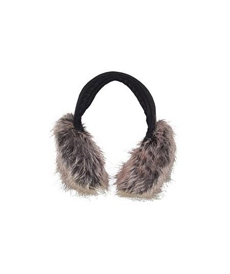 Tweed Earmuffs with Faux Fur