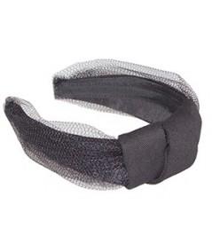 Twill Headband Center Turban Headband with Tulle Detail