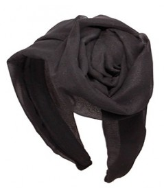 Black Silk Chiffon Extra Wide Headband with Side Handmade Rose