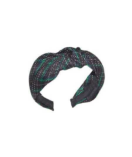 Black and Emerald Tartan Plaid Braid Center Turban Headband