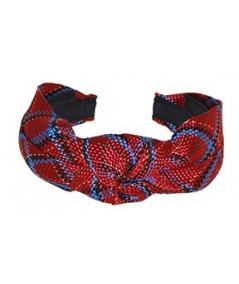 Red and Blue Tartan Plaid Braid Center Turban Headband