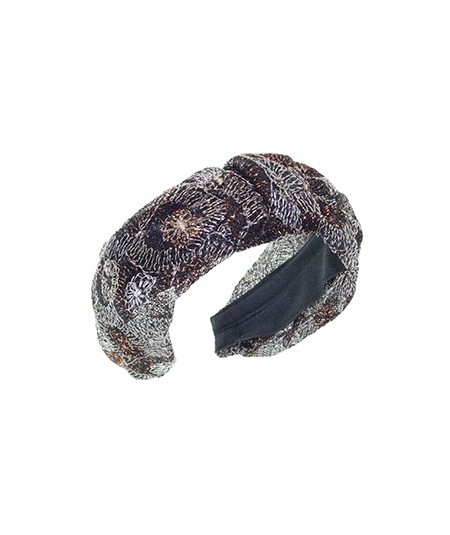 Metallic Floral Print Tulle Center Divot Headband