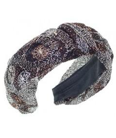 Metallic Floral Print Tulle Center Divot Headband