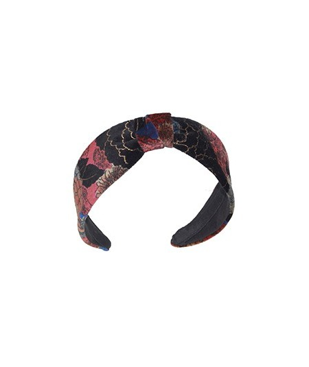 Velvet Print Headband with Center Divot