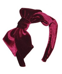 Burgundy Velvet Headband with Loop Bow at Side