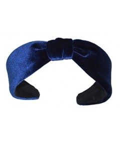 Navy Velvet Center Divot Headband