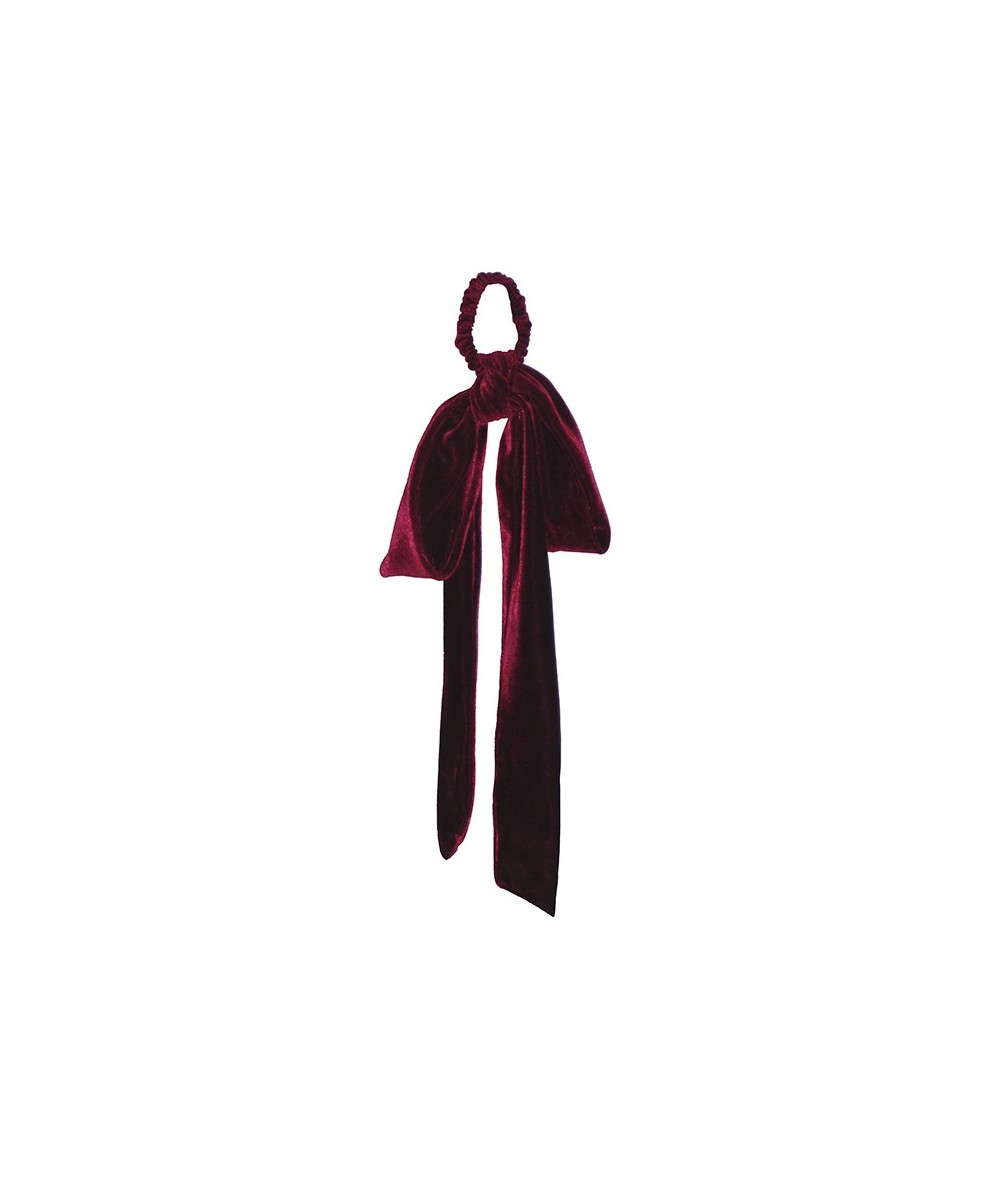 Burgundy Large Velvet Detachable Bow Ponytail Holder