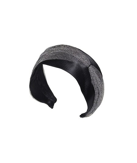 Black Satin with Metallic Tulle Side Divot and Color Stitch Headband