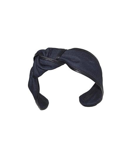 Indigo Denim with Black Leather Side Turban Headband