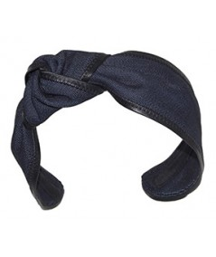 Indigo Denim with Black Leather Side Turban Headband