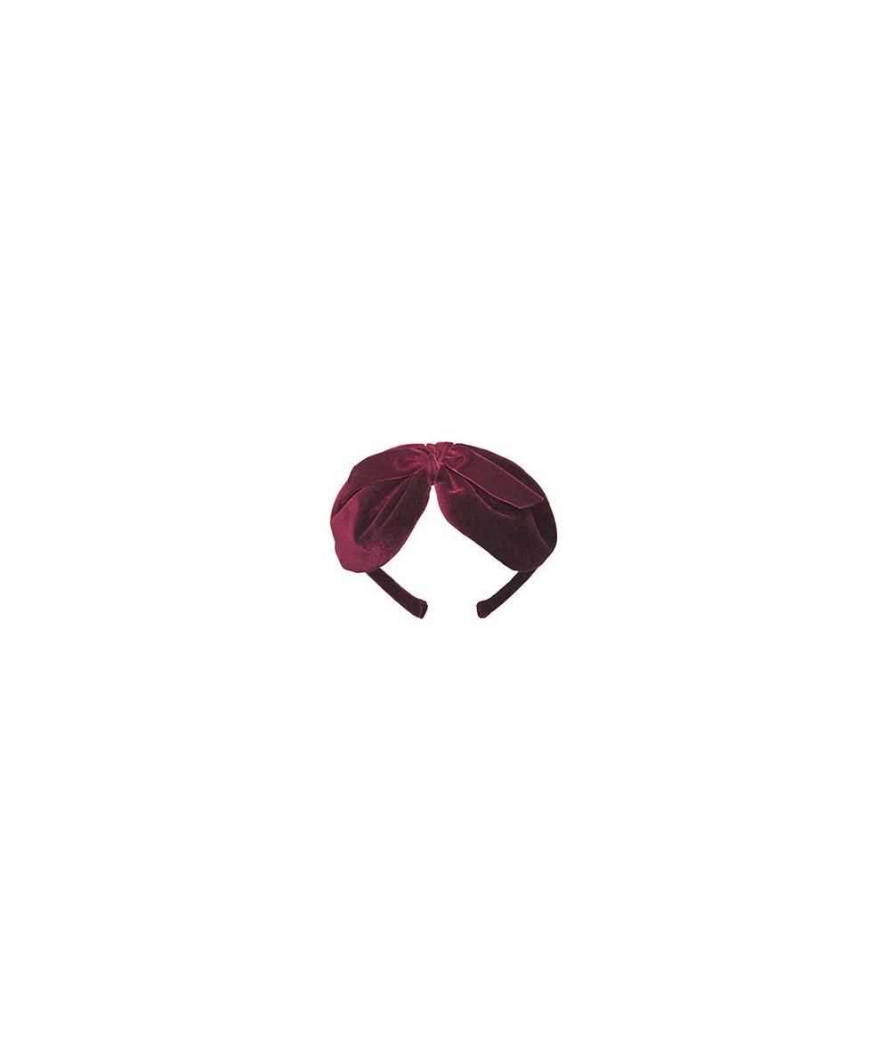 Burgundy Velvet Center Bow Headband