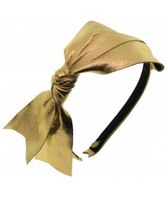 Metallic Leather Large Bow Side Knot Headband