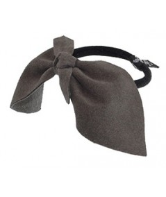 Charcoal Suede Bow Ponytail Holder by Jennifer Ouellette