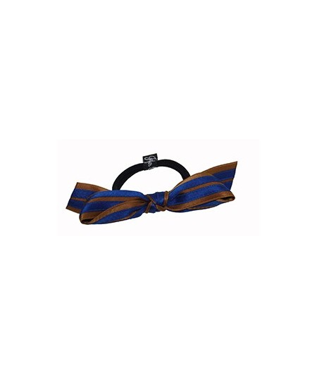 Bronze - Royal Satin Stripe Millinery Bow Ponytail Holder by Jennifer Ouellette