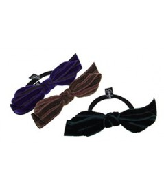 Velvet with Grosgrain Bow Ponytail Holder