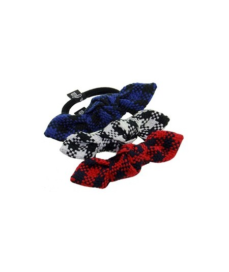 Tartan Plaid Bow Ponytail Elastic Black and Navy, Two Tone Black and White, Navy and Red
