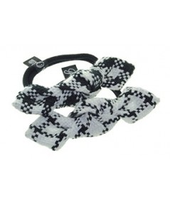 Tartan Plaid Bow Ponytail Elastic Two Tone Black and White, Black and White