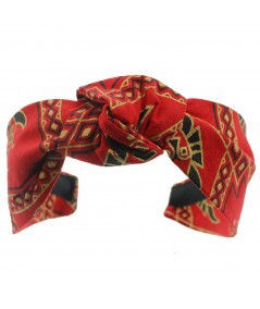 Aztec Print Bacall Turban Red Gold