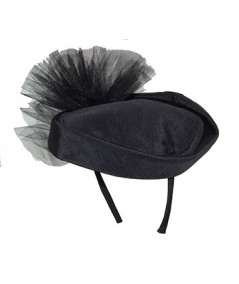 Black Bengaline Headpiece with Tulle Bow at Back