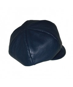 Light NavyLeather Cap