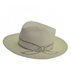 Paper Straw Hat with Hand Painted Bow and Band