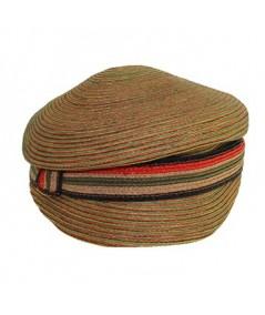 Straw Colored Stitch Hat with Stripe Straw Band