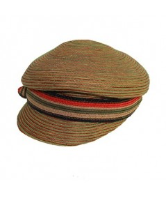 Straw Colored Stitch Hat with Stripe Straw Band