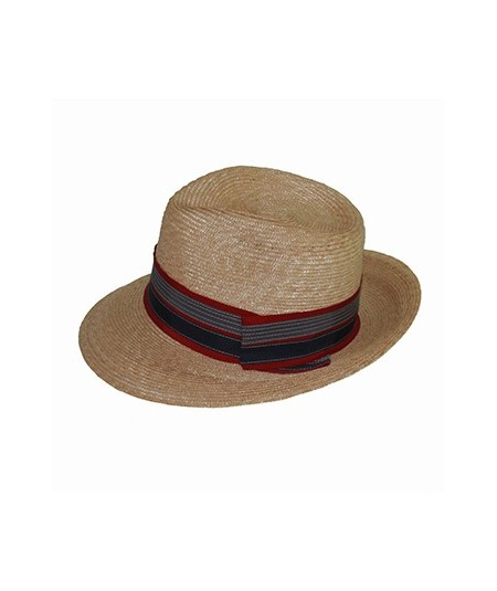 Milan Straw Fedora Hat Trimmed with Independence Stripe Grosgrain Band